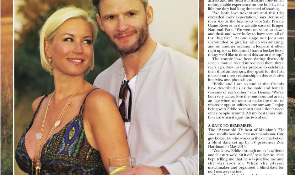 Page 1 from Hello! magazine featuring Denise Van Outen in South Africa