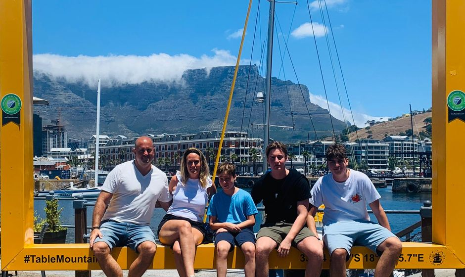 Family with Table Mountain in background