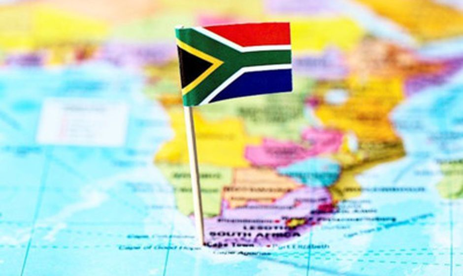 South Africa Map with Flag